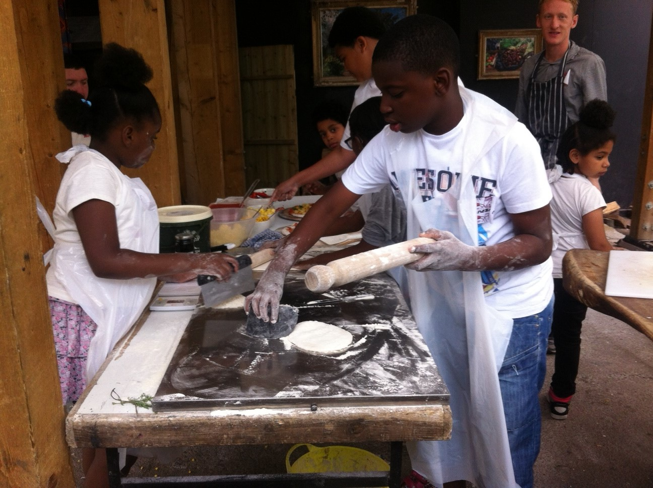 Pizza Making at the Dalston Eastern curve Garden.. Summer Programme 2015